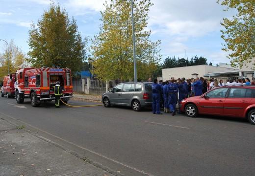 Protección Civil realiza un simulacro de incendio no Centro de Formación Ocupacional