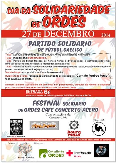 Ordes celebrará o vindeiro sábado o 'Día da solidariedade' con partidos de fútbol galaico e concertos musicais