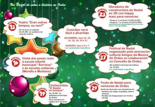 Obradoiros, teatro, festivais, música, contacontos e moito máis no Nadal organizado polo Concello de Ordes