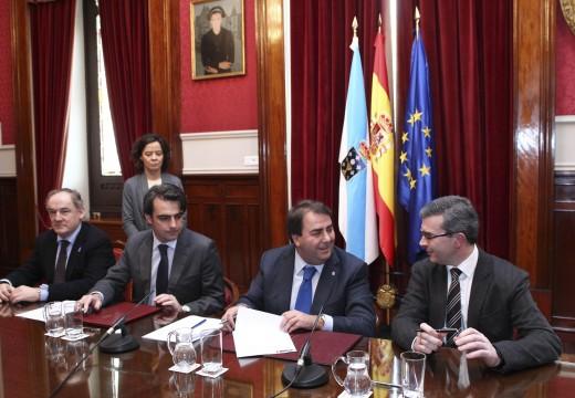 O alcalde asina coa Asociación Down Coruña o convenio para colaborar no financiamento do seu novo centro en Pedralonga