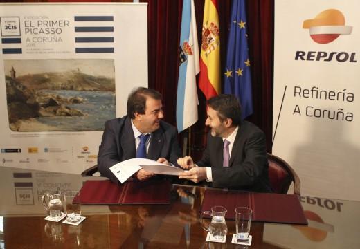 """Negreira asina con Repsol un convenio de donación para a mostra """"O primeiro Picasso.  A Coruña 2015"""""""
