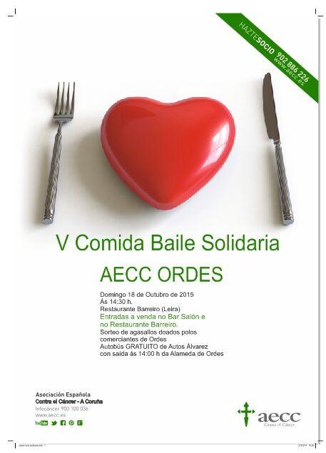 A AECC Ordes leva vendidas xa máis de 150 entradas para asistir á V Comida Baile Solidaria