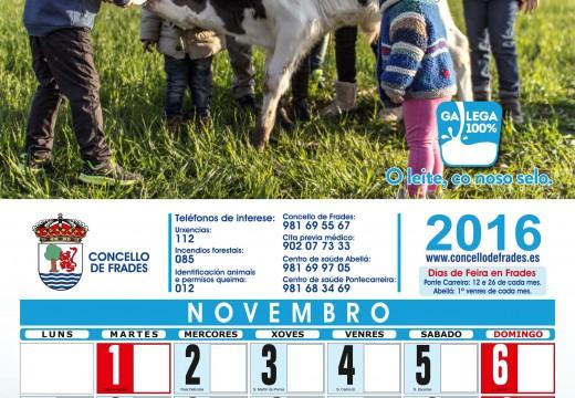 """O Concello de Frades reparte entre a veciñanza un calendario en apoio do sector lácteo baixo a lenda """"Frades co leite galego"""""""