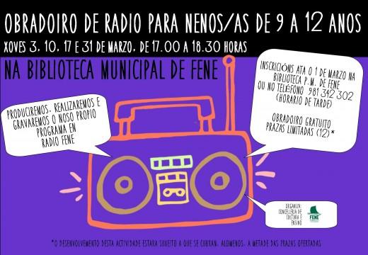 """A Biblioteca Municipal de Fene acollerá o seu """"II Taller de Radio"""" no mes de marzo"""