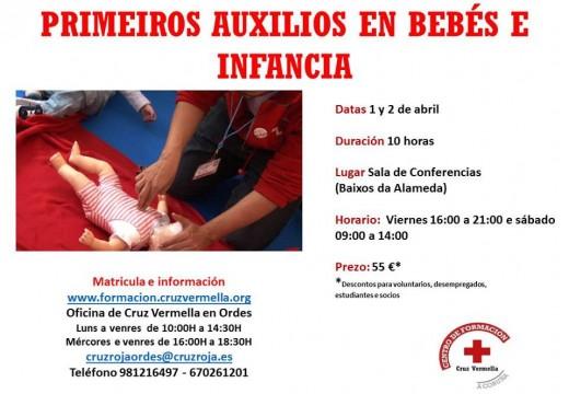 Cruz Vermella Ordes  impartirá un curso de primeiros auxilios para bebés e infancia