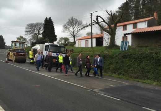 A Xunta avanza nas obras de reposición do firme en mal estado na estrada AC-234 entre Arzúa e Corredoiras, en Boimorto