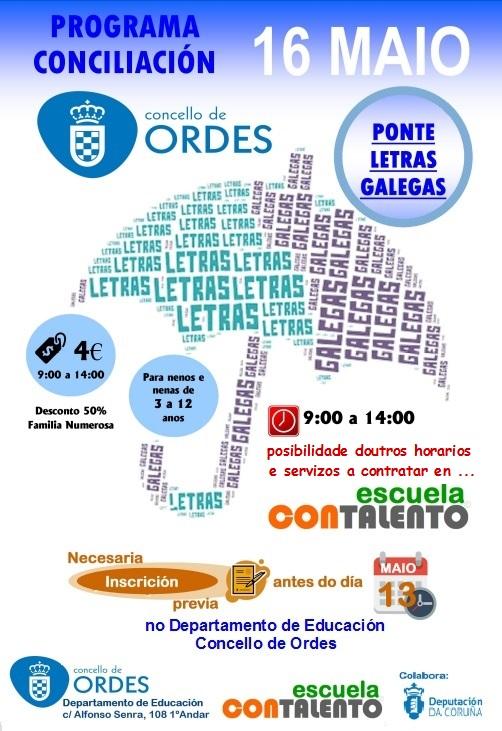 O Concello de Ordes convoca unha xornada de conciliación para a ponte do Día das Letras Galegas