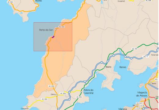 A Xunta inicia as obras de reconstrución dun muro da estrada AC-550 ao seu paso polo concello de Porto do Son