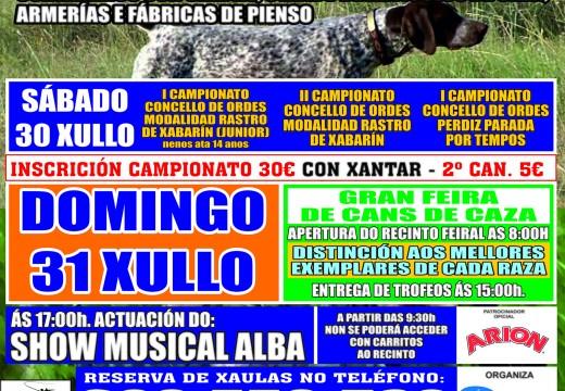 Abertas as inscricións para participar na exhibición e nas probas da XXV Feira de Cans de Caza do Mesón do Vento