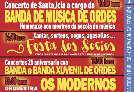 A Asociación Amigos da Música de Ordes celebra esta fin de semana a festividade de Santa Icía