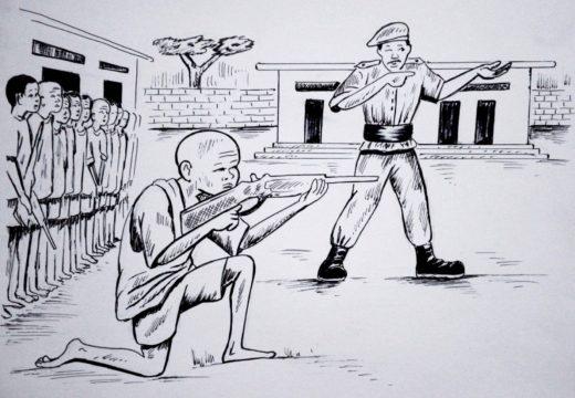"""Este martes chega a San Sadurniño a mostra """"As nenas e nenos soldados"""", do debuxante senegalés Momar Badiane"""