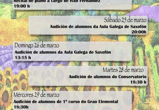 """O Conservatorio de Riveira ofrecerá unha semana de audicións e concertos dentro do ciclo """"Primavera Musical"""""""