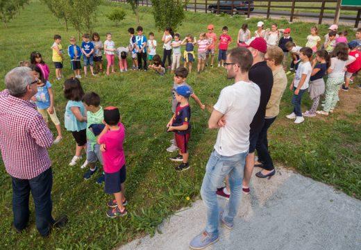 140 nenos e nenas pasan a mañá na horta de conservación de froiteiras Carlos Fornos