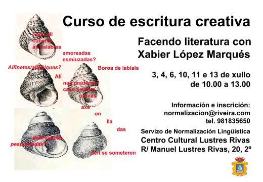 Curso gratuíto de escritura creativa no Lustres Rivas co profesor López Marqués