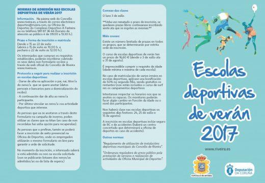 O concello de Riveira ofrece nove Escolas e catro actividades Deportivas para o Verán