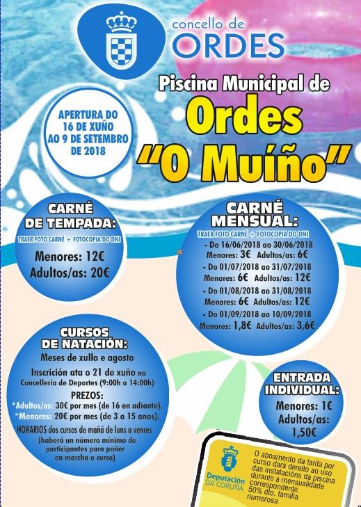 A piscina municipal do Muíño abrirá as súas portas do 16 de xuño ao 9 de setembro