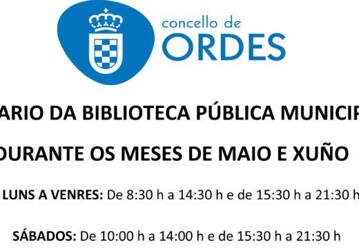 A biblioteca municipal de Ordes amplía o seu horario durante os meses de maio e xuño