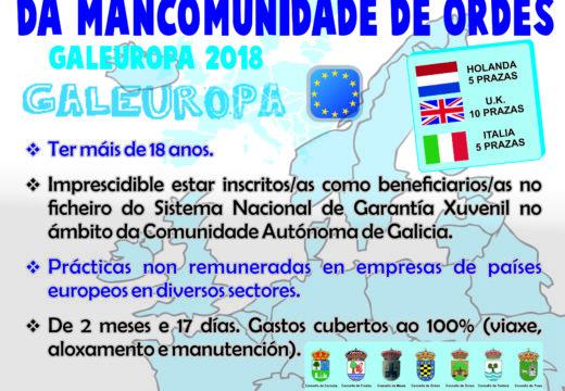 Aberto o prazo de inscrición para o programa xuvenil Galeuropa da Mancomunidade de Ordes
