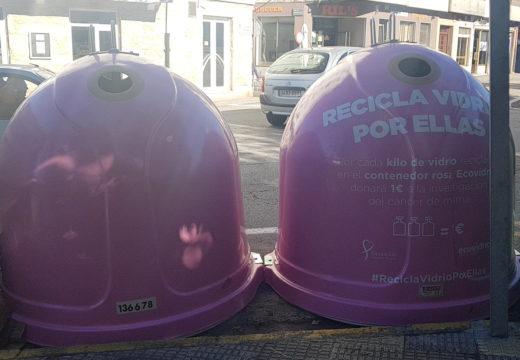 """O Concello de Noia súmase á campaña contra o cancro de mama """"Recicla vidrio por ellas"""""""