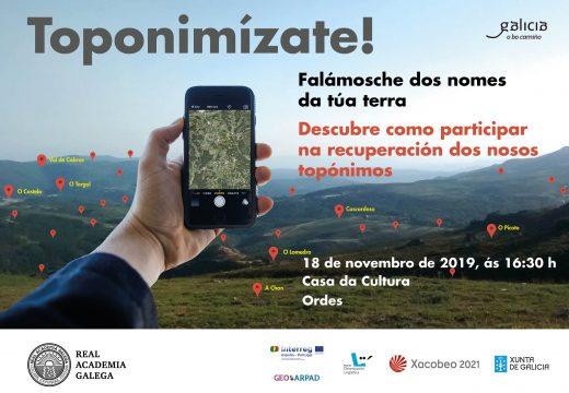 Charla do programa Toponimízate, o vindeiro luns na Casa da Cultura de Ordes