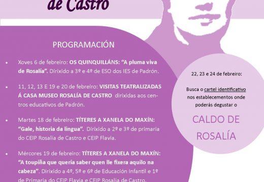 Rosalía de Castro protagoniza a axenda cultural do mes de febreiro en Padrón