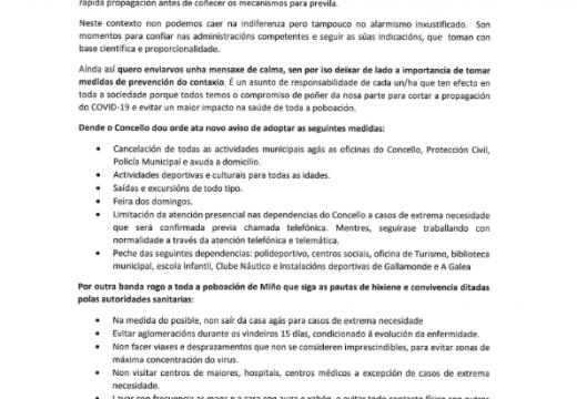 El Concello de Miño cancela todas las actividades culturales y deportivas para frenar la expansión del COVID-19