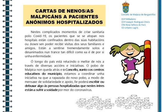 Malpica convoca á rapazada para enviarlle debuxos e cartas ás persoas ingresadas por COVID-19 na área sanitaria da Coruña