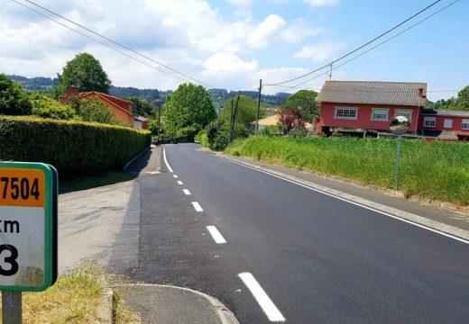 A Deputación remata as obras de renovación do firme da estrada DP 7504 en Carnoedo (Sada)