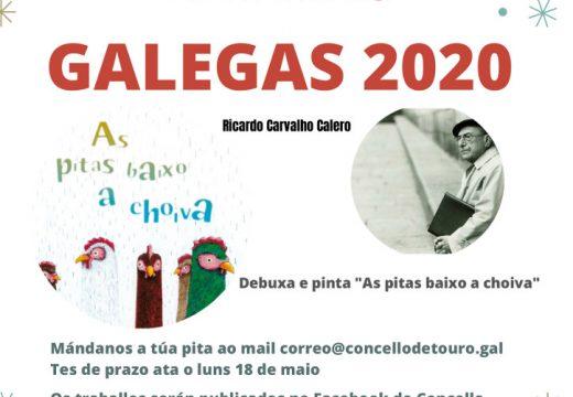 O Concello de Touro invita a nenos e nenas a pintar 'As pitas baixo a choiva' en homenaxe a Carvalho Calero no Día das Letras Galegas 2020