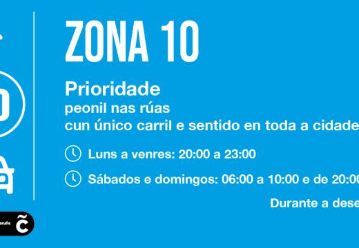 """As rúas """"Zona 10"""" con prioridade peonil estarán operativas desde hoxe ás 20.00 horas en toda a cidade"""