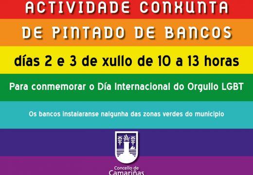 O Concello de Camariñas organiza unha actividade conxunta de pintado de bancos coas cores LGBT