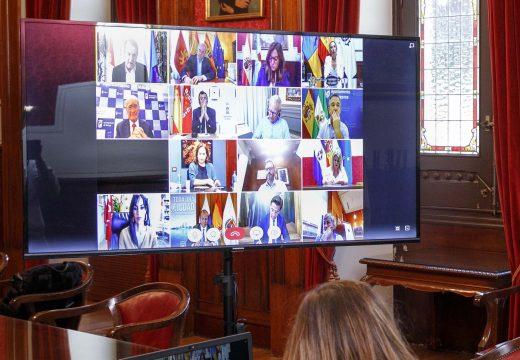 Inés Rey analiza co Ministro Escrivá e cunha vintena de concellos o papel das Entidades Locais na xestión do Ingreso Mínimo Vital