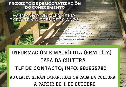 O Concello de Lousame e a Universidade de Santiago ofrecen seis charlas formativas gratuítas para maiores de 50 anos