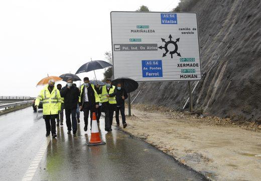 Gonzalo Trenor comproba o avance das obras de construción dunha nova cuneta de seguridade na autovía Ferrol-Vilalba, ao seu paso polo concello das Pontes