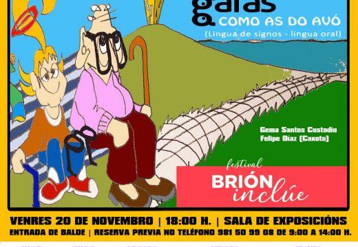 """O Festival Brión Inclúe ofrece mañá """"Unhas gafas como as do avó"""", un contacontos inclusivo de Caxoto en lingua oral e de signos"""