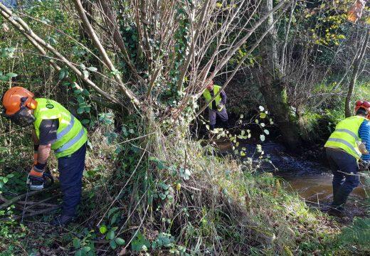 A Xunta realiza traballo de conservación e limpeza nos treitos interurbanos dos ríos Dubra, Loureiro, Rego do Souto e Rego do Faxón no concello de Val de Dubra